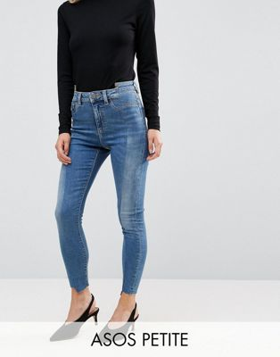 ASOS PETITE RIDLEY High Waist Skinny Jeans With Seamed Split Front in Noelle Light Wash