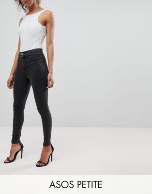 ASOS PETITE RIVINGTON High Waist Denim Jeggings in Washed Black