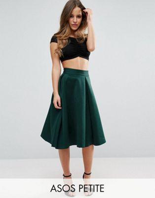 ASOS PETITE Scuba Prom Skirt with Invert Pleat