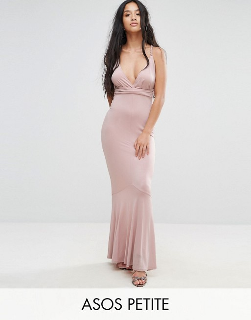 Image 1 of ASOS PETITE Slinky Deep Plunge Fishtail Braid Strap Maxi Dress
