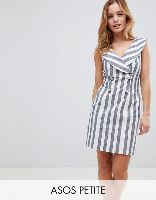 ASOS PETITE Stripe Mini Tux Dress