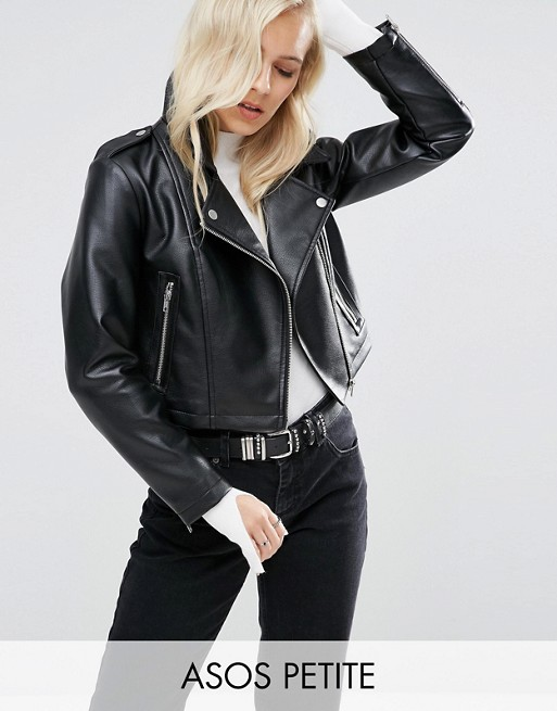 ASOS PETITE Ultimate Biker Jacket with Multi Stitch Detail