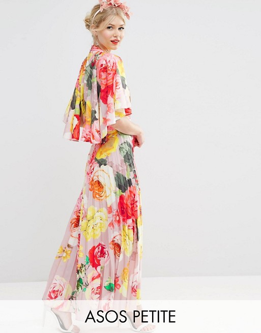 ASOS PETITE WEDDING Pleated Maxi Dress with Drape Back Cape Sleeve