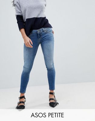 ASOS PETITE WHITBY Low Rise Skinny Jeans In Tatiana Wash