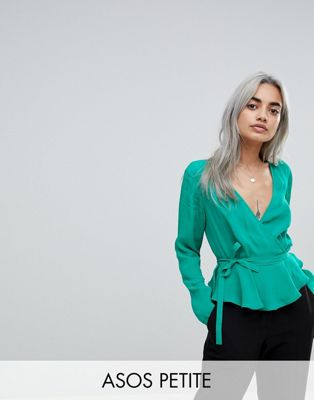 ASOS PETITE Wrap Top with Pephem