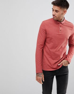 ASOS Pique Polo Button Down Collar In Red