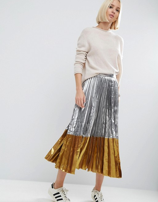 Image 1 of ASOS Pleated Midi Skirt in Metallic with Contrast Hem