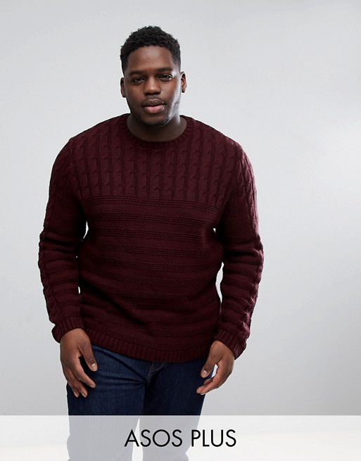 ASOS PLUS Cable Knit Yoke Sweater In Burgundy