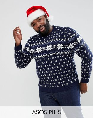 ASOS PLUS Christmas Jumper With Snowflake Design