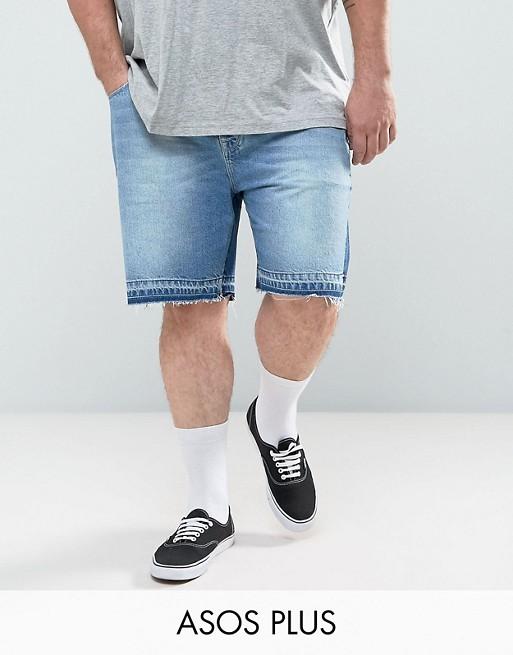 ASOS PLUS – Enge Jeansshorts in verwaschenem Mittelblau mit Einsätzen