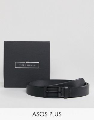 ASOS PLUS Made In England Smart Slim Belt In Black Leather