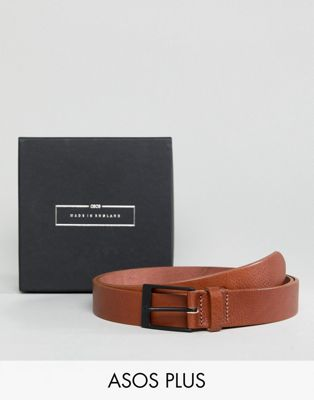 ASOS PLUS Made In England Smart Slim Belt In Tan Leather