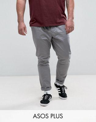 ASOS PLUS Skinny Chinos in Grey