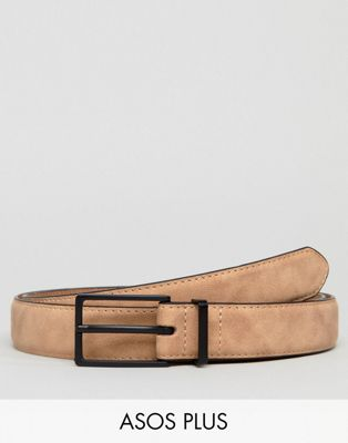ASOS PLUS Skinny Faux Suede Belt In Beige
