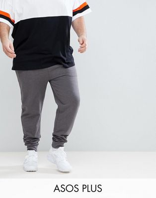 ASOS PLUS Skinny Joggers In Charcoal Marl