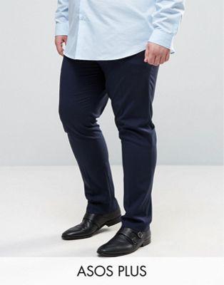 ASOS PLUS Skinny Smart Pants In Navy