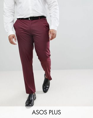 ASOS PLUS Skinny Smart Trousers In Burgundy