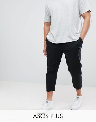 ASOS PLUS Skinny Super Crop Chinos in Black