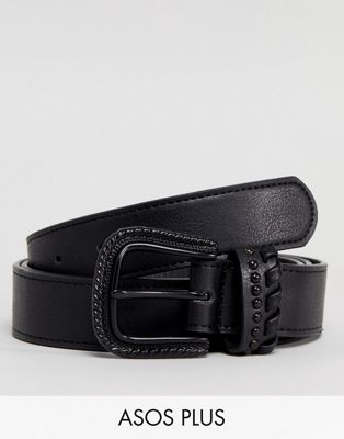 ASOS PLUS Slim Faux Leather Belt In Black With Matte Black Western Buckle