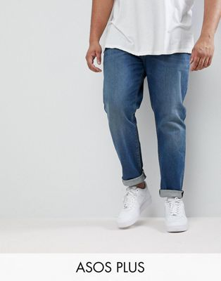 ASOS PLUS Slim Jeans In Mid Wash