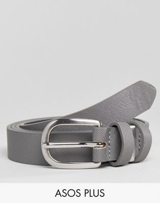 ASOS PLUS Smart Skinny Faux Leather Belt In Grey With Metal Keepers