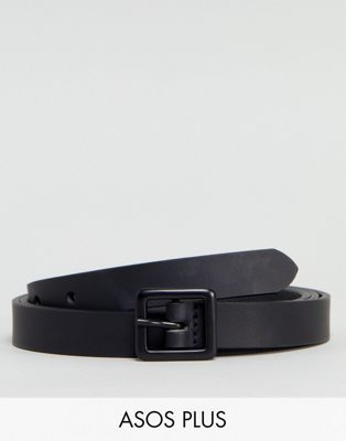 ASOS PLUS Smart Skinny Leather Belt With Matte Coated Buckle In Black