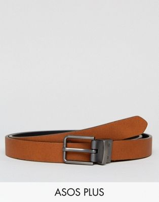 ASOS PLUS Smart Skinny Reversible Belt In Black And Tan