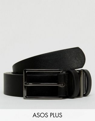ASOS PLUS Smart Slim Belt In Black Faux Leather With Triple Keeper