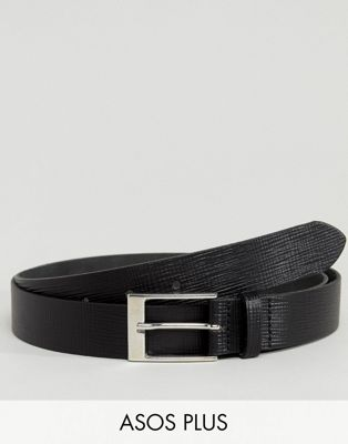 ASOS PLUS Smart Slim Belt In Black Leather With Saffiano Emboss