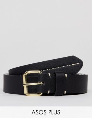 ASOS PLUS Smart Slim Faux Leather Belt In Black With Contrast Stitch Detail
