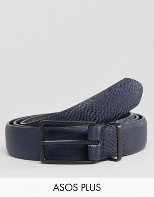 ASOS PLUS Smart Slim Faux Leather Belt In Navy With Black Matte Buckle