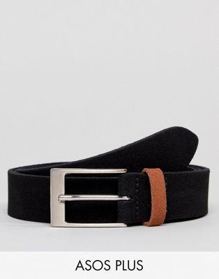 ASOS PLUS Smart Slim Suede Belt In Black With Contrast Tan Suede Keeper