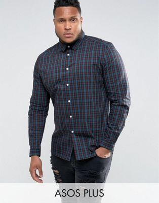 ASOS PLUS Stretch Check Shirt In Navy