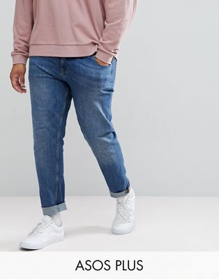 ASOS PLUS Stretch Slim Jeans In Mid Wash