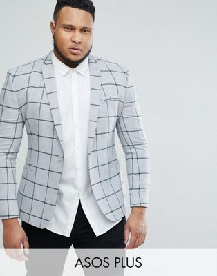 Image 1 of ASOS PLUS Super Skinny Blazer In Grey Wool Mix With Green Windowpane Check