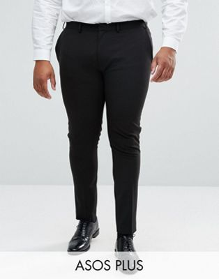 ASOS PLUS Super Skinny Fit Suit Trousers In Black