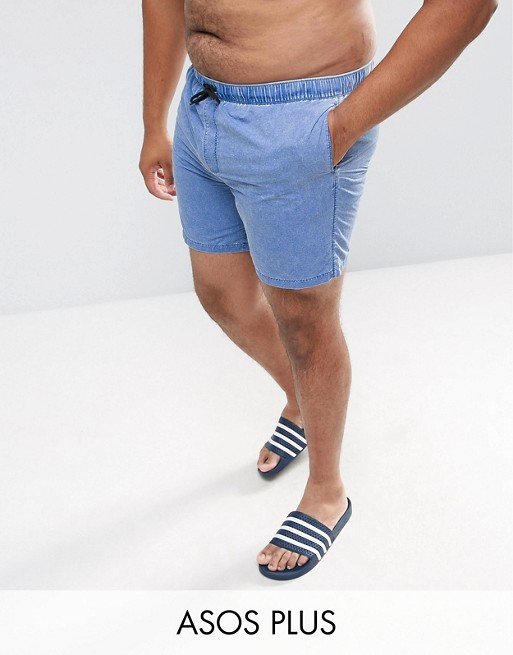 Image 1 of ASOS PLUS Swim Shorts In Blue Acid Wash Mid Length