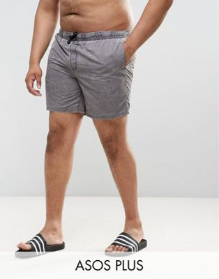 ASOS PLUS Swim Shorts In Greyish Green Acid Wash In Mid Length