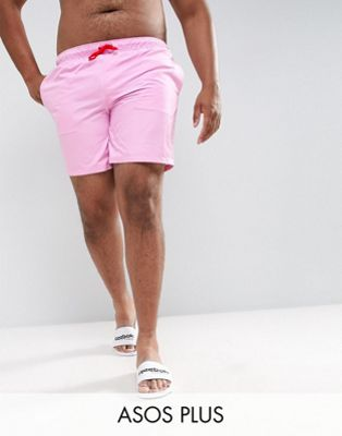 ASOS PLUS Swim Shorts In Pink With Red Contrast Drawcords Mid Length