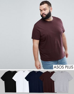 ASOS PLUS T-Shirt With Crew Neck 5 Pack SAVE