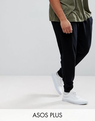 ASOS PLUS Tapered Joggers In Black