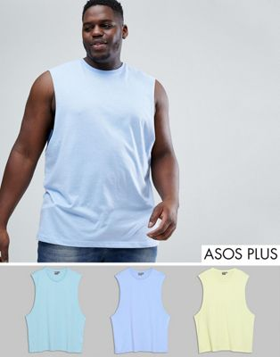 ASOS PLUS Vest With Dropped Armhole 3 Pack SAVE