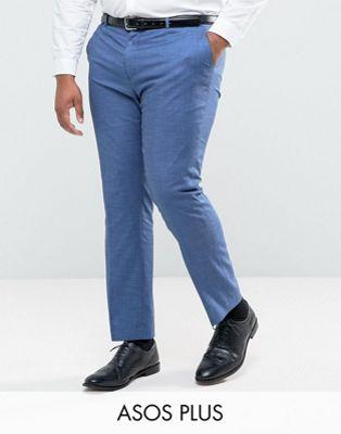 ASOS PLUS WEDDING - Pantaloni da abito slim in tonic blu