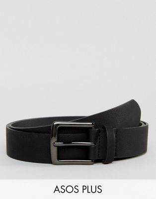 ASOS PLUS Wide Belt In Black Pebble Grain Faux Leather And Gunmetal Buckle