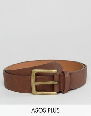 ASOS PLUS Wide Belt In Brown Faux Leather With Vintage Gold Buckle