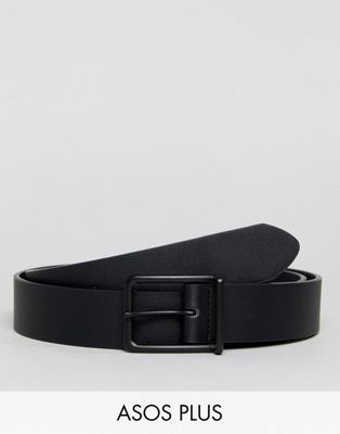 ASOS PLUS Wide Faux Leather Belt In Black With Matte Black Buckle