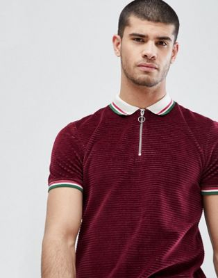 ASOS Polo Shirt In Cord With Retro Tipping Collar And Cuff