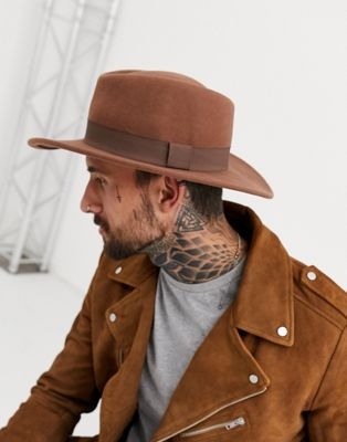 ASOS Pork Pie Hat In Camel With Diamond Crown