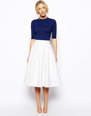Image 1 of ASOS Premium Full Midi Skirt in Bonded Crepe