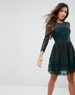 Image 1 of ASOS PREMIUM Lace Mini Skater Dress